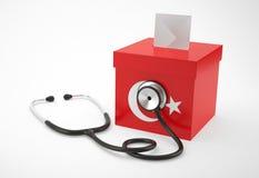 Tajne głosowanie stetoskop dla Turcja i pudełko Obrazy Royalty Free