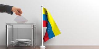 Tajnego głosowania pudełko i mała Wenezuela flaga ilustracja 3 d ilustracja wektor
