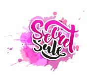 Tajnej sprzedaży oferty sztandaru wektoru plakatowa ilustracja Tekst z ręcznie pisany literowaniem dla reklamy, promo, sieć proje ilustracja wektor