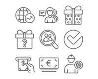 Tajny prezent, rewizja pracownicy, i Weryfikujemy ikony Światowe statystyki, Atm waluta znaki, usługowi i Euro Obrazy Royalty Free