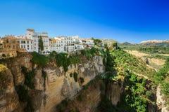 Tajo De Ronda Jest wąwozem Rzeźbiącym Guadalevin rzeką, Dalej Fotografia Royalty Free
