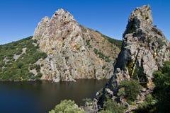 Tajo flod i Monfrague, Spanien Royaltyfria Bilder
