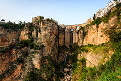 Tajo gorge bridge connects old and new Ronda Spain Royalty Free Stock Photo