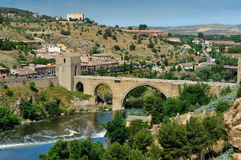 Tajo river and the Alcantara bridge, Toledo, Spain Stock Images