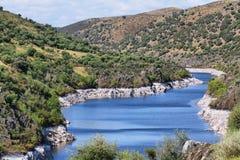 Tajo river near The village of Alcántara Stock Images