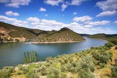 Tajo river near The village of Herrera de Alcántara Stock Image