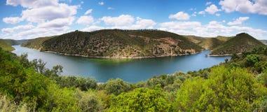 Tajo river near The village of Herrera de Alcántara Stock Photo