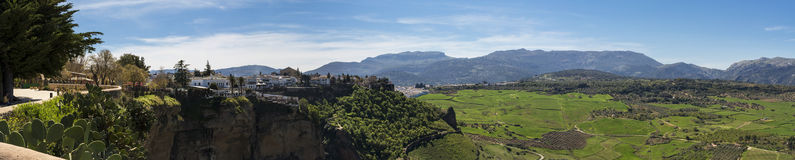 Tajo Valley. Panoramic Photo of Tajo Valley in Ronda, Spain Royalty Free Stock Photos