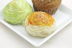 Tajwański Mooncake i banana tort Zdjęcia Stock
