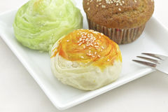 Tajwański Mooncake i banana tort zdjęcie stock