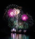 Tajwan, Penghu ocean Międzynarodowi fajerwerki festiwale, tęcza most, Magong Guanyinting Rekreacyjny teren, długi ujawnienie, now obrazy stock