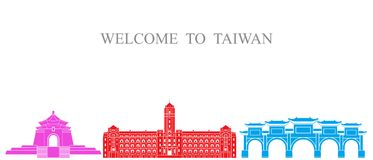 Tajwan set Odosobniona Tajwańska architektura na białym tle Obrazy Royalty Free