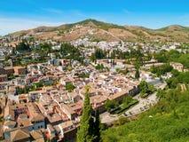 Tak av Albaicin, Granada från Alhambra Royaltyfria Foton