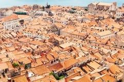 Tak av den gamla staden, Dubrovnik, Kroatien Arkivbild
