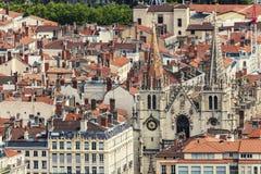 Tak av den gamla staden i Lyon Royaltyfria Bilder