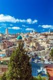 Tak av den gamla staden med helgedom begraver den kyrkliga kupolen, Jerusalem Arkivbilder