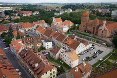 Tak av den gamla staden av Reszel Arkivfoto