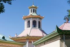 Tak av den kinesiska byn i Tsarskoe Selo Arkivfoton
