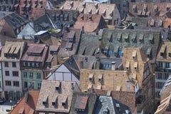 Tak av den Strasbourg staden, Alsace, Frankrike arkivbilder