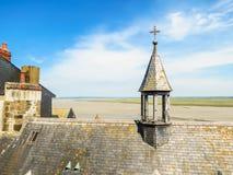 Tak av Mont Saint-Michel, Frankrike Arkivbilder