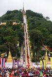 Tak Bat Devo festival på Uthaithani Arkivbilder