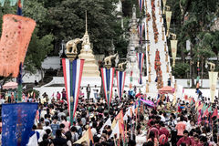 Tak Bat Devo festival at Uthaithani Royalty Free Stock Photography