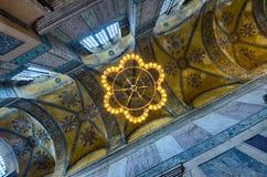 Tak en korridor i den ayasofia moskén av istanbul Arkivbild