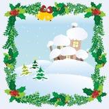 Tak för hus för snö för jullandskapvinter Arkivfoton