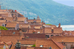 Tak i den gamla staden dubrovnik croatia Fotografering för Bildbyråer