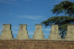 Tak med den forntida fästningen och merlons Royaltyfria Bilder