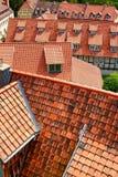 tak med många röda singlar Arkivfoto
