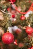 Tak met bal op een Kerstboom Stock Afbeelding