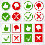 Tak, Nie, kciuki w górę i na dół ikon Lubi w przeciwieństwie do symbolu i Obrazy Stock