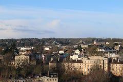Tak-scape av staden av Bristol med Clifton Suspension Bridge i bakgrunden Arkivbilder