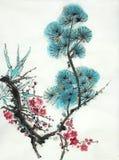 Tak van bloeiende pruimbamboe en pijnboom stock illustratie