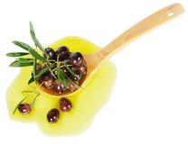 Olijven en olijfolie Stock Foto