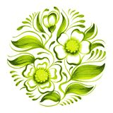 Tak van groene thee met bloemen en bladeren Stock Afbeelding