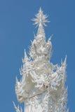 Tak Wat Rong Khun eller för vit tempel vitt för buddistisk tempel arkivfoto