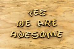 Tak wspaniała pozytywna postawa szczęśliwa inspiruje letterpress typ obrazy royalty free