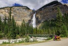 Takakkaw Falls waterfall in Yoho National Park. Stock Images