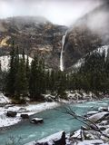 Takakkaw Falls and Yoho River in Yoho National Park, Canada. Takakkaw falls is the 2nd highest waterfall in Canada and is fed by Daly Glacier meltwater. A royalty free stock photos