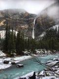 Takakkaw Falls and Yoho River in Yoho National Park, Canada royalty free stock photos