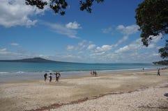 Takapuna strand Arkivbild