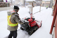 TAKAYAMA, ΙΑΠΩΝΙΑ - 19 ΙΑΝΟΥΑΡΊΟΥ: Μια χιονώδης ημέρα στην πόλη takayama espec Στοκ Εικόνες