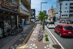 Takayama city. Takayama, Japan - May 2, 2016: Takayama city in front of train station. Takayama is a city in the mountainous Hida region of Gifu Prefecture Stock Photos