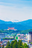 Takayama City Landscape Snow Mountain Range V Stock Photos