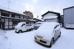 TAKAYAMA, GIAPPONE - 19 GENNAIO: Takayama nella neve una città che Fotografia Stock