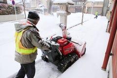 TAKAYAMA, GIAPPONE - 19 GENNAIO: Un giorno nevoso nel espec della città di takayama Immagini Stock