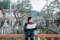 Man get lost in Takayama old town stock photography