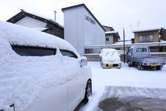 TAKAYAMA, JAPAN - JANUARI 19: Takayama in de sneeuw een stad die Royalty-vrije Stock Foto